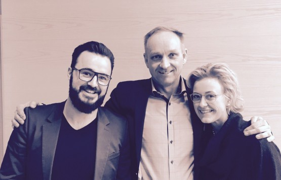 Mr Benjamin Jones pictured with Professor Mats Brannstrom from the Swedish team and Dr Sarah Schott from the German team